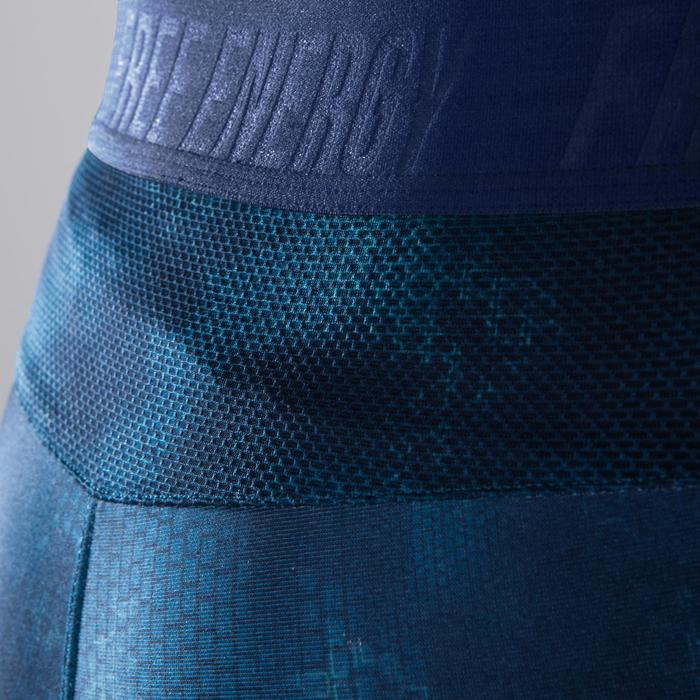 Legging fitness cardio femme bleu marine et imprimés tropicaux roses 500 Domyos - 1411837