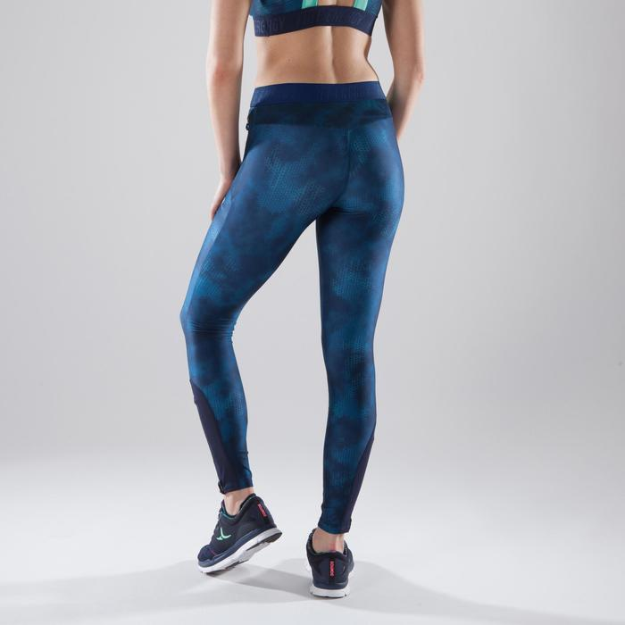 Legging fitness cardio femme bleu marine et imprimés tropicaux roses 500 Domyos - 1411839