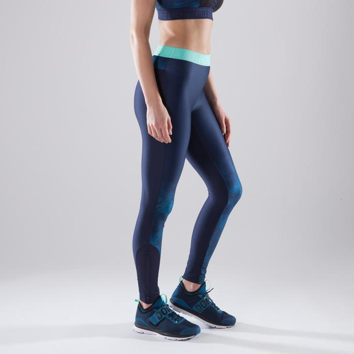 Legging fitness cardio femme bleu marine et imprimés tropicaux roses 500 Domyos - 1411849