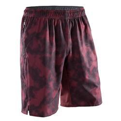 有氧健身短褲FST500 - 黑色/暗紅色