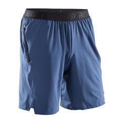 2-in-1 herenshort voor fitness en cardiotraining FST520 grijs blauw