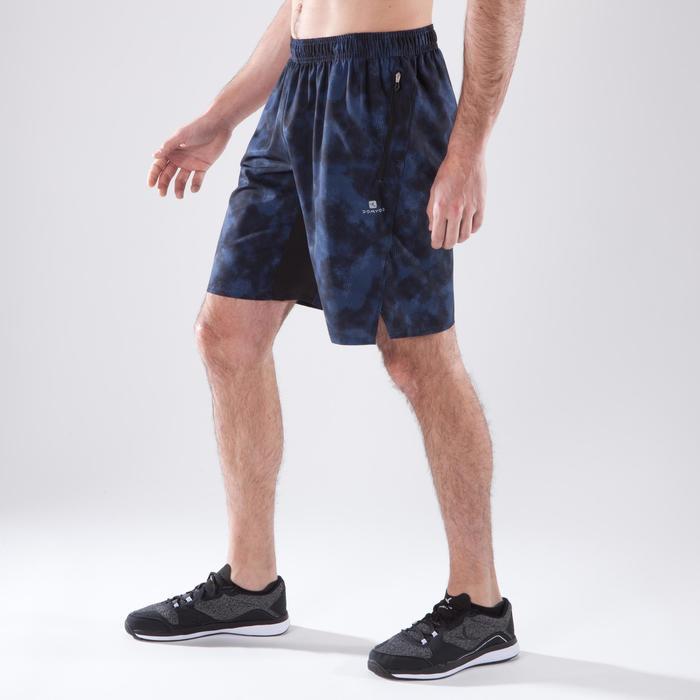Herenshort voor fitness en cardiotraining FST500 grijs blauw zwart