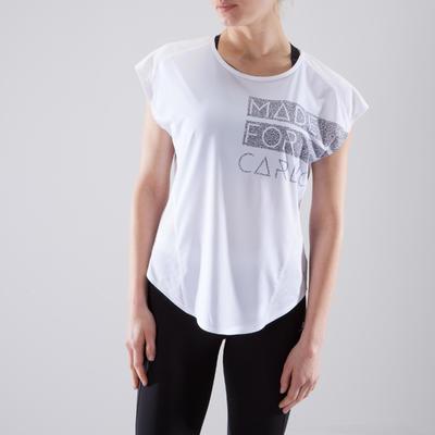 10c7ca4c1a995 T-shirt loose fitness cardio-training femme blanc à imprimés 120 ...
