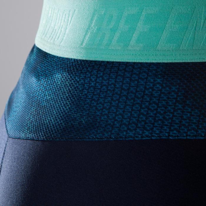 Leggings fitness cardio-training mujer azul marino con estampados azules 500