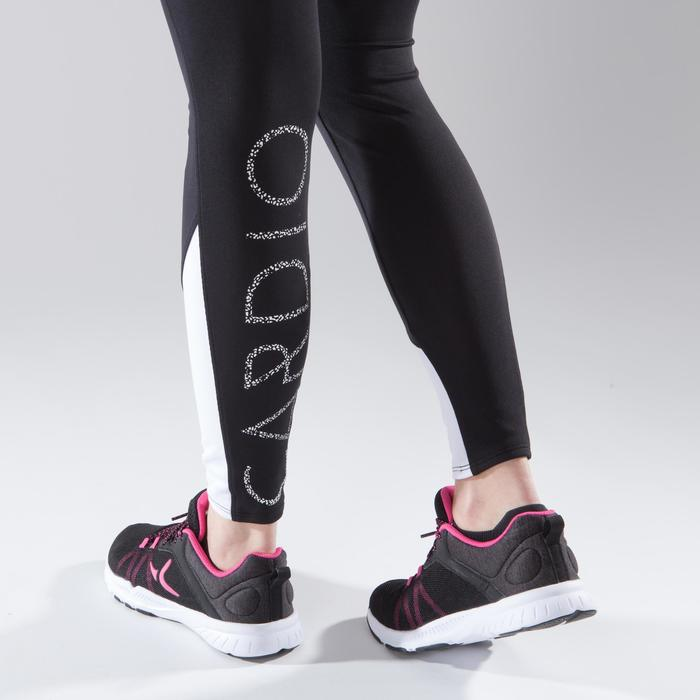 Leggings fitness cardio-training mujer bicolor negro y blanco 120