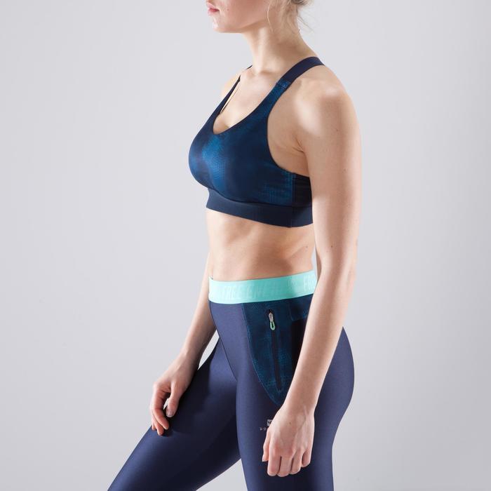 Brassière fitness cardio-training femme imprimée bleu marine 500