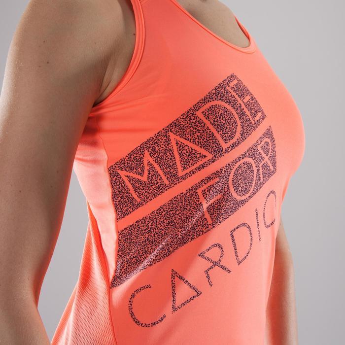 Fitnesstopje Cardio 120 dames koraalrood met opdruk