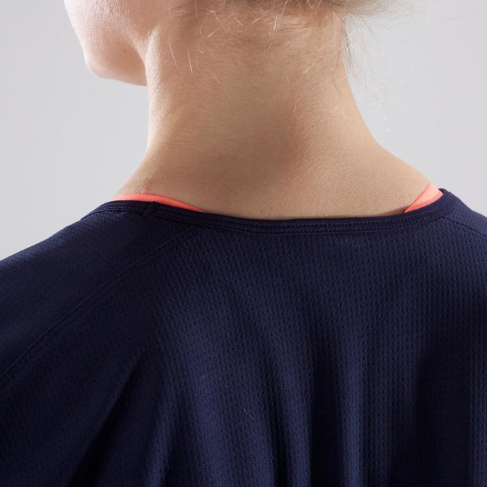 T-shirt loose fitness cardio-training femme bleu marine à imprimés corail 120