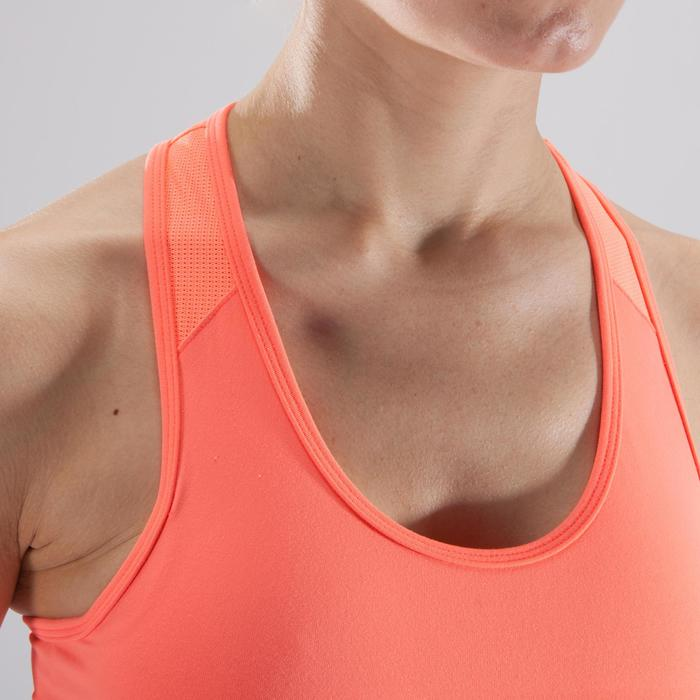 Sport-Bustier 100 Fitness-/Cardiotraining Damen koralle