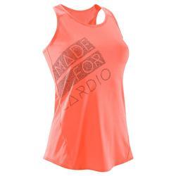 Camiseta sin mangas fitness cardio-training mujer coral con estampados 120