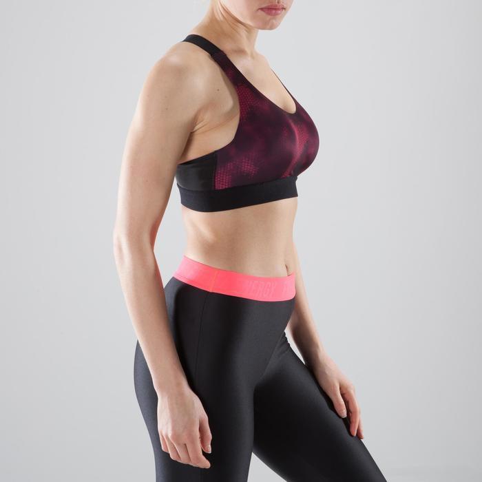 Brassière fitness cardio femme imprimés géométriques noirs 500 Domyos - 1411998