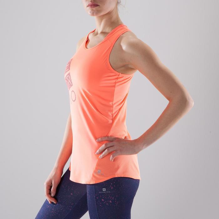 Débardeur fitness cardio-training femme corail avec imprimés 120
