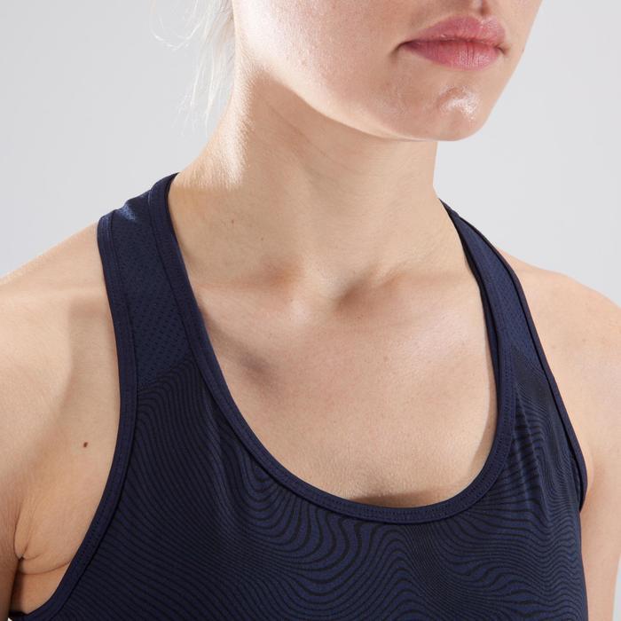 Cardiofitness tank 120 voor dames marineblauw kleurschakeringen