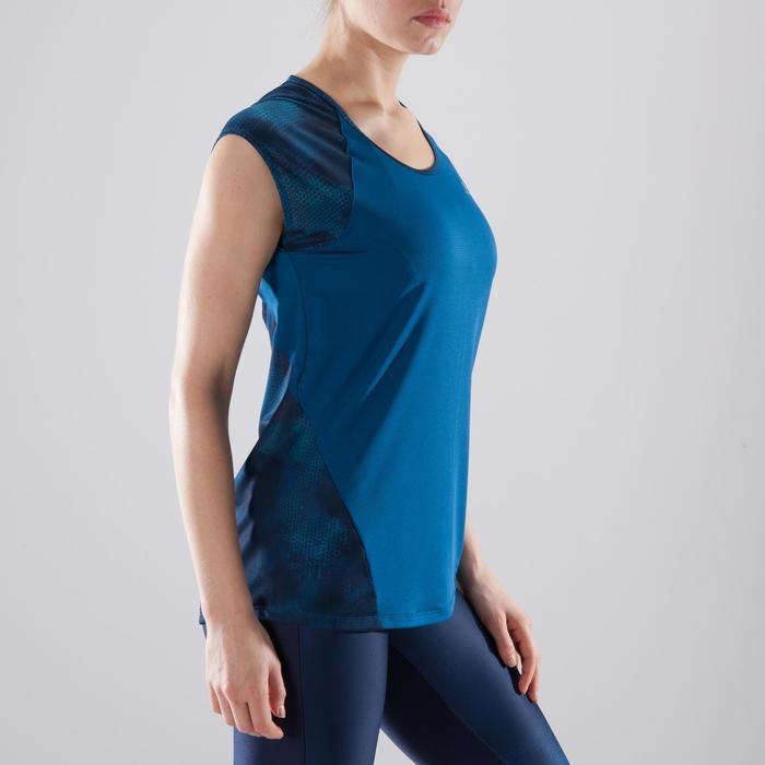 T-shirt fitness cardio femme bleu marine à imprimés roses 500 Domyos - 1412036