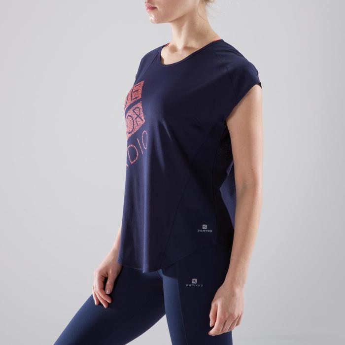 Cardiofitness T-shirt voor dames, loose fit, marineblauw met koraal print 120
