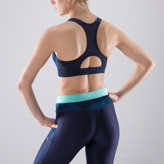 Brassière fitness cardio femme imprimés géométriques noirs 500 Domyos - 1412055