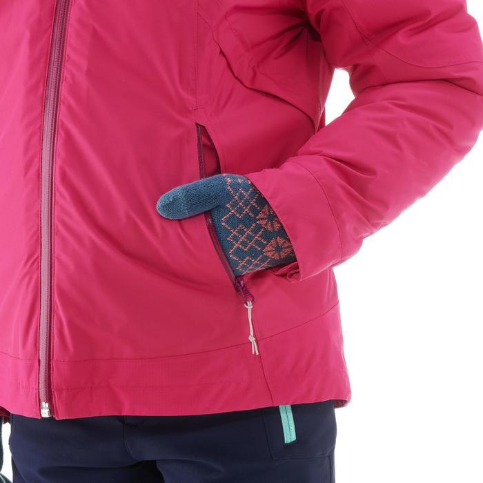 8到14歲女童款3合1超保暖雪地健行防水外套SH500-粉紅色