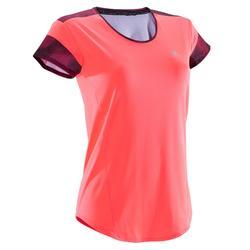 Cardiofitness T-shirt 500 voor dames, koraalrood met zwarte en roze details