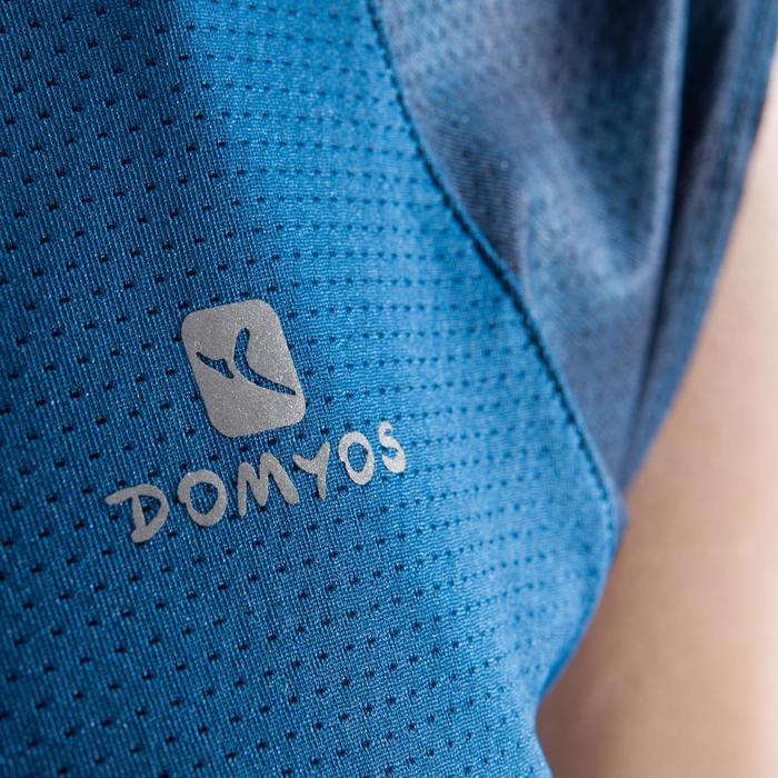 T-shirt fitness cardio femme bleu marine à imprimés roses 500 Domyos - 1412134