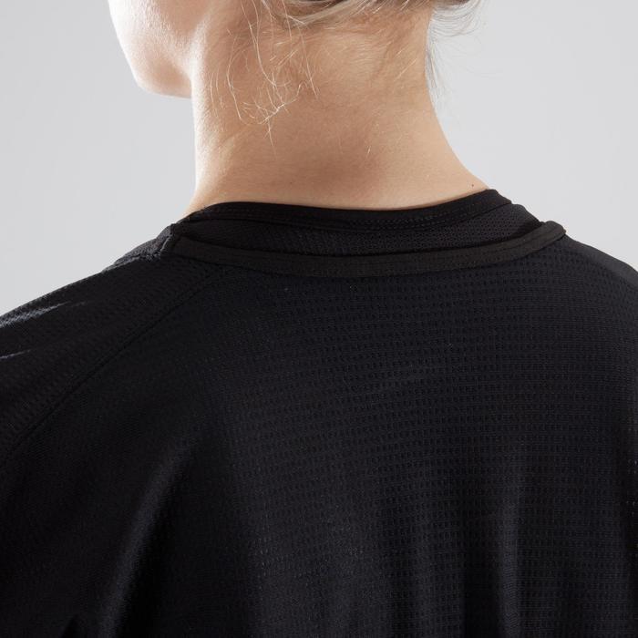 Cardiofitness T-shirt 120 voor dames, loose fit, zwart met witte opdruk