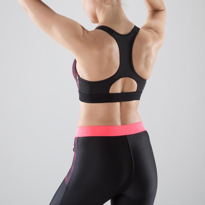 Brassière fitness cardio femme imprimés géométriques noirs 500 Domyos - 1412150