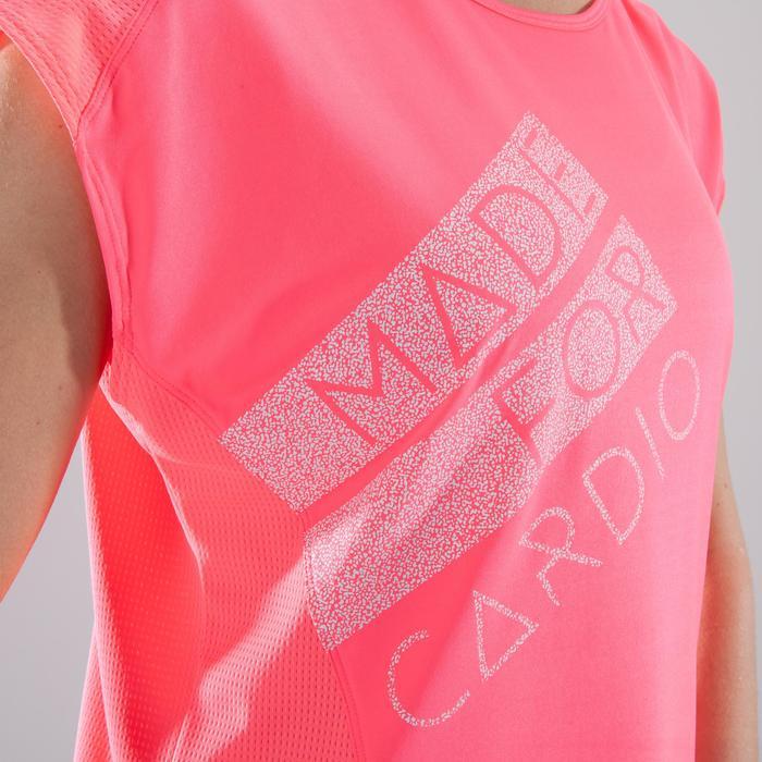 Cardiofitness T-shirt 120 voor dames, loose fit, roze met opdruk