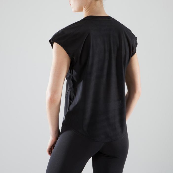 T-Shirt Loose Cardio 120 Fitness Damen schwarz mit weiβen Prints
