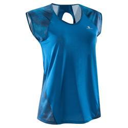 T-shirt fitness cardio femme bleu marine à imprimés roses 500 Domyos