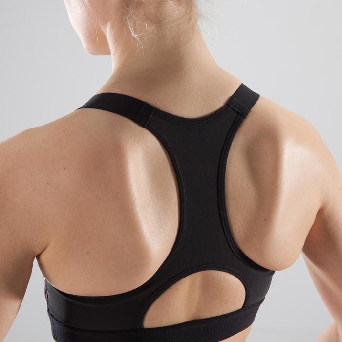 Brassière fitness cardio femme imprimés géométriques noirs 500 Domyos - 1412180