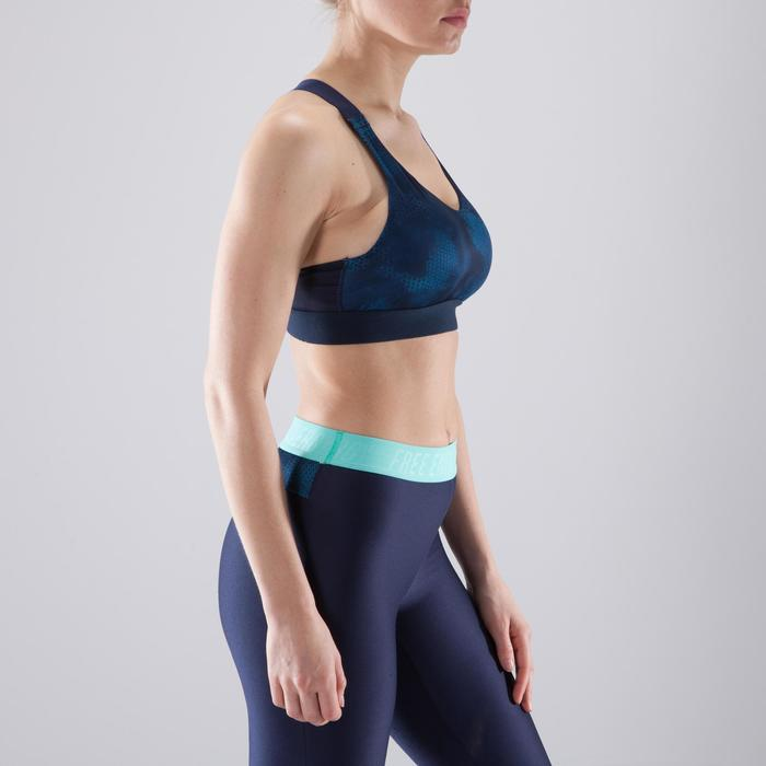 Sujetador-top fitness cardio-training mujer estampado azul marino 500