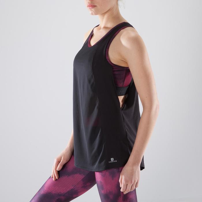 Débardeur brassière intégrée fitness cardio-training femme noir et corail  500 e401d38c525