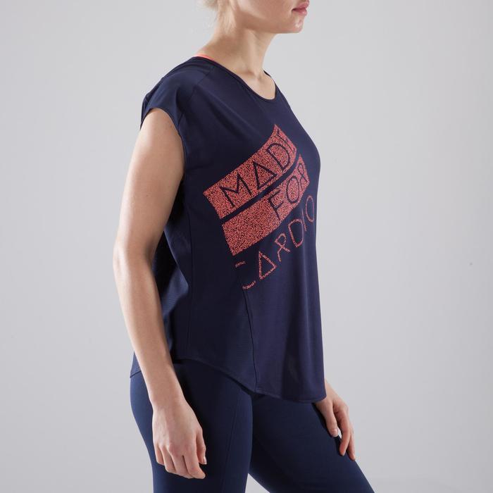 T-Shirt Loose Cardio 120 Fitness Damen marineblau/koralle