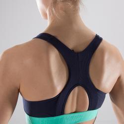 Sujetador-top fitness cardio-training mujer con estampados azul marino 500