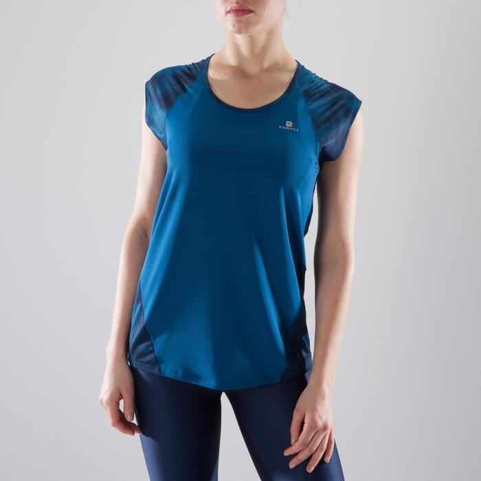 T-shirt fitness cardio femme bleu marine à imprimés roses 500 Domyos - 1412224