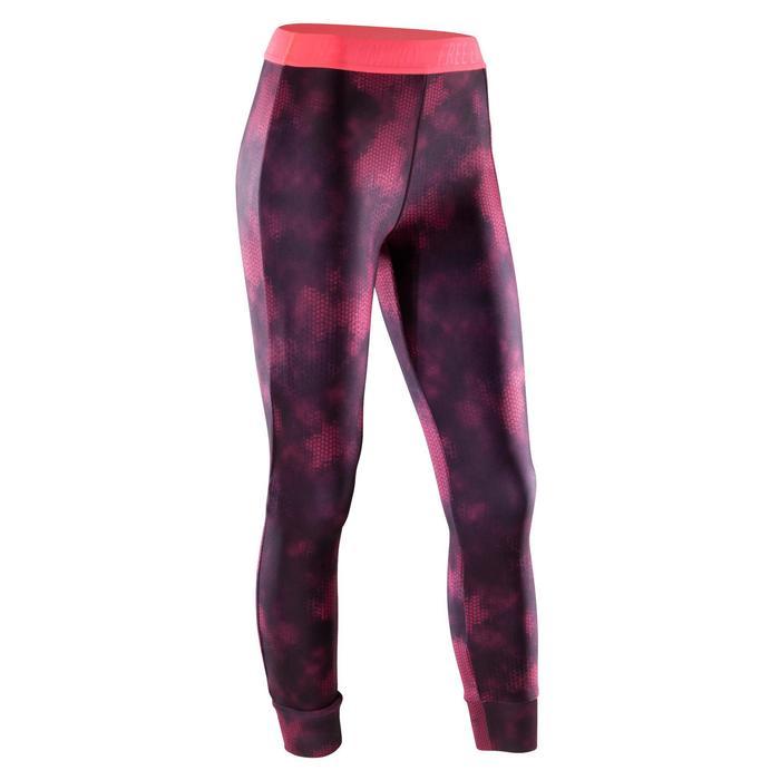 Legging 7/8 fitness cardio-training femme avec imprimés roses 500