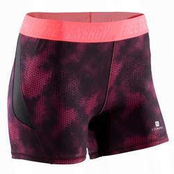 Short fitness cardiotraining dames met tropische roze print 500 Domyos