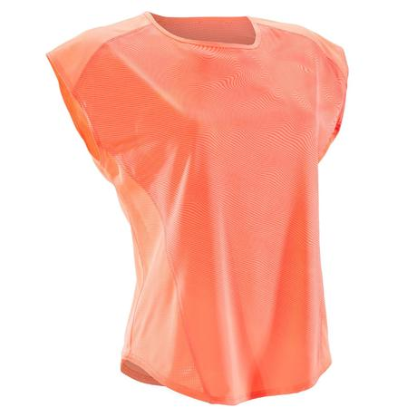 7dc0d5f7d319c T-shirt loose fitness cardio-training femme corail nuancé 120   Domyos by  Decathlon