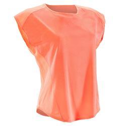 Cardiofitness T-shirt 120 voor dames, loose fit, koraalrood kleurschakeringen