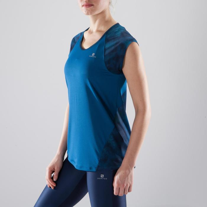 T-shirt fitness cardio femme bleu marine à imprimés roses 500 Domyos - 1412327