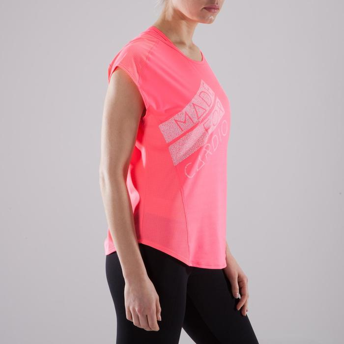 T-shirt loose fitness cardio-training femme rose à imprimés 120