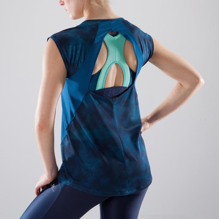 T-shirt fitness cardio femme bleu marine à imprimés roses 500 Domyos - 1412354