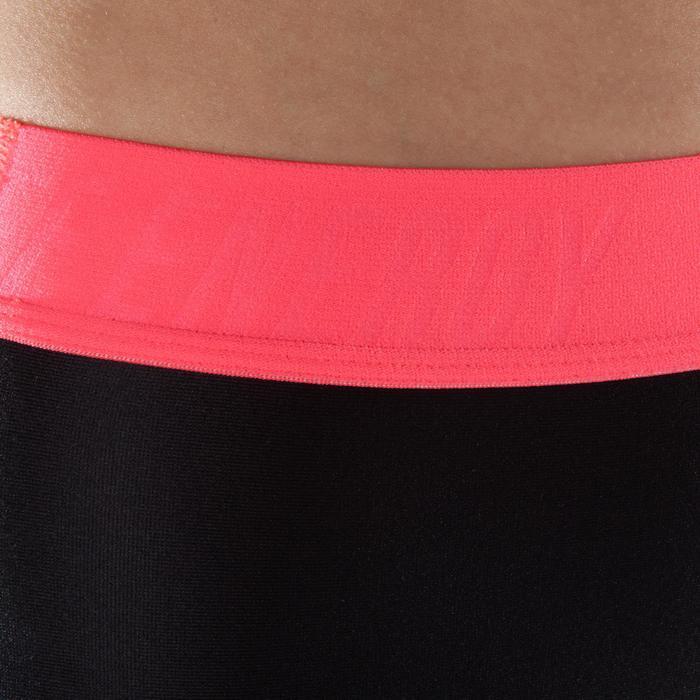7/8-legging voor dames fitness cardiotraining 500 zwart met roze accenten