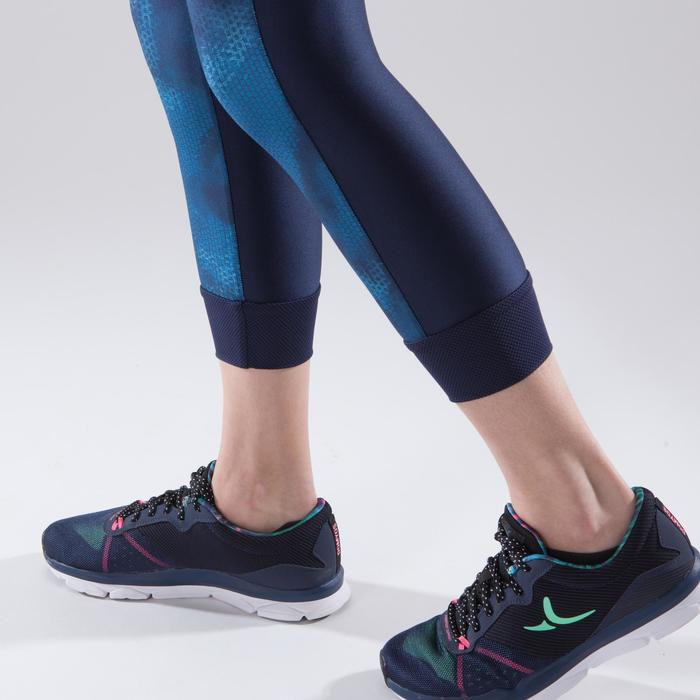 Leggings 7/8 fitness cardio-training mujer azul marino con estampados azules 500