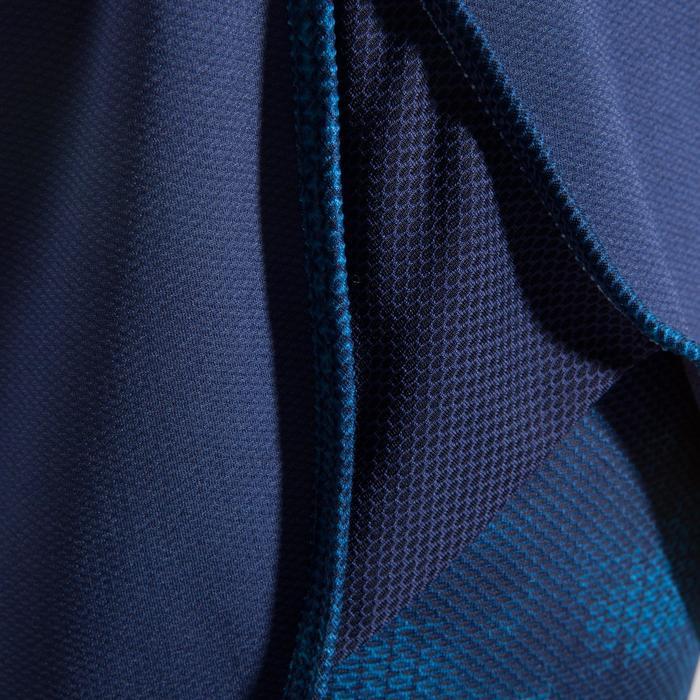 Short 2 en 1 fitness cardio femme bleu marine et imprimés roses 520 Domyos - 1412426