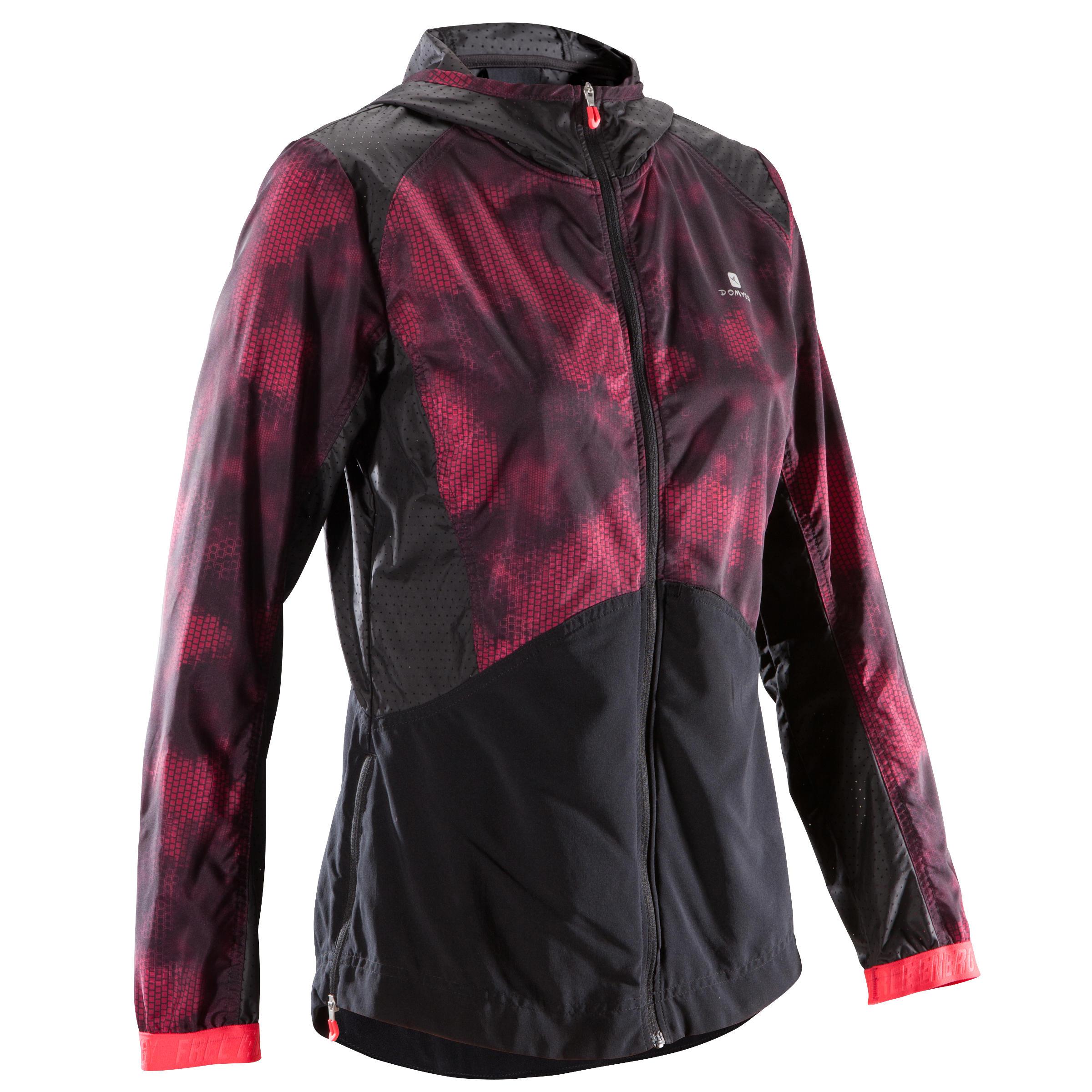 Veste à capuchon d'entraînement cardio femme noire avec imprimés roses 520