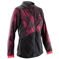 Veste à capuche fitness cardio femme noire avec imprimés roses 520