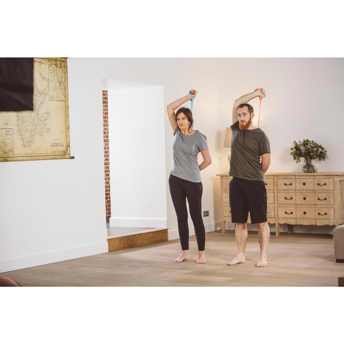Elastikband 500 Textil mit Griffen Pilates Stretching hoher Widerstand