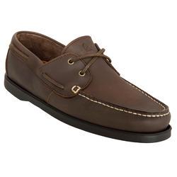 Calzado náutico de cuero hombre CR500 marrón marrón