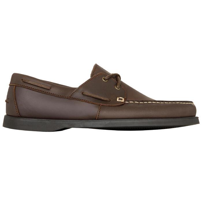 Chaussures bateau cuir homme CR500 marron marron