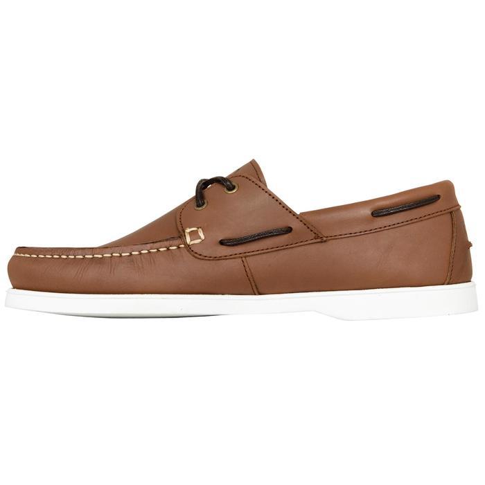 Chaussures bateau cuir homme CR500 marron blanc